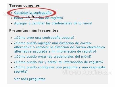 Cambiar clave de MSN