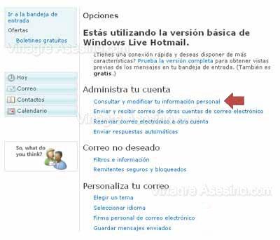 Opciones de Hotmail