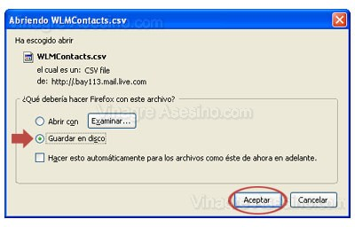 Guardar contactos de Hotmail Live