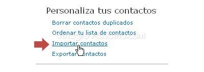 Importar contactos de Hotmail Live