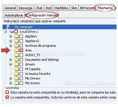 Configuración manual de Ares