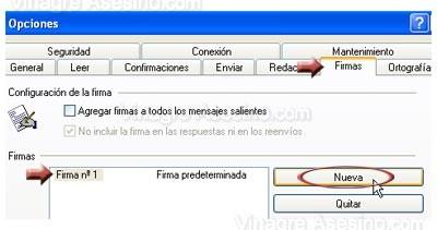 Crear firma en Outlook Express