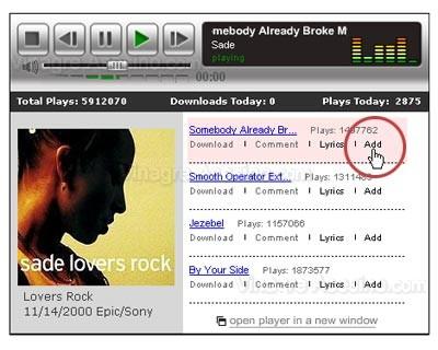 Añadir canción en MySpace