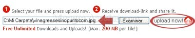 Botón para subir el archivo al servidor