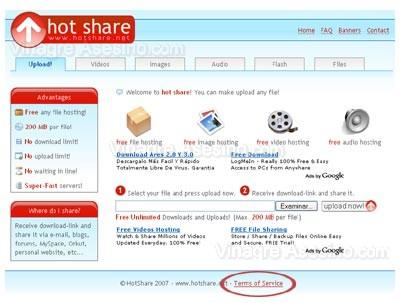 Pagina de inicio de hot share
