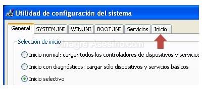 Pestaña inicio de la utilidad de configuración del sistema