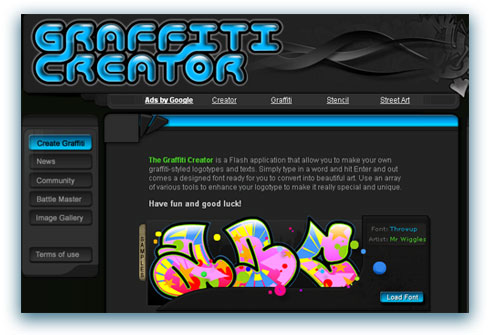 graffiti creator es un creador de graffitis online muy facil