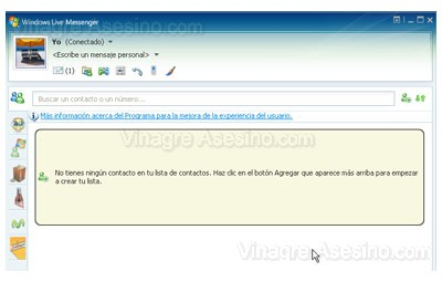 Ventana de Windows Live Messenger