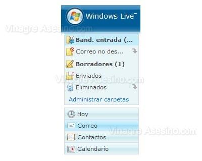 Interfaz de Windows Live Hotmail en español