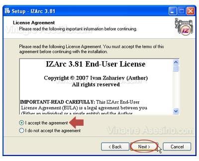 Aceptación de licencia de usuario final de IZArc 3.81