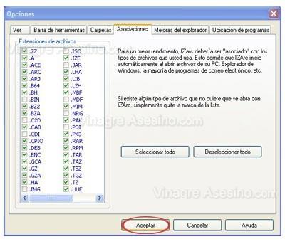 Configuración de opciones de IZArc