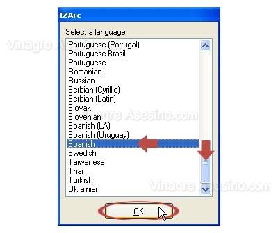 Seleccionando lenguaje en IZARC