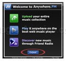 Ventana de Bienvenida a Anywhere FM