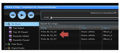Centro del reproductor web de AnyWhere.FM