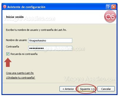 Introduce usuario y contraseña en Last.fm