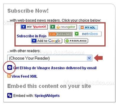 Lectores de Feeds que puedes elegir en FeedBurner