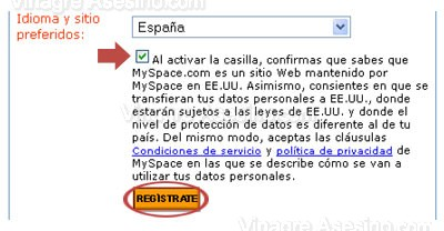 Condiciones de MySpace