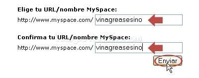 Elige la url/nombre para My Space