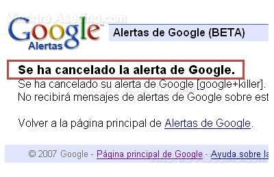 La Alerta de Google ha sido cancelada