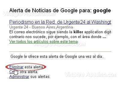 Eliminando una alerta de Google