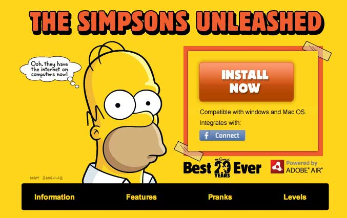 simpsons facebook   Aplicación de Los Simpsons en Facebook