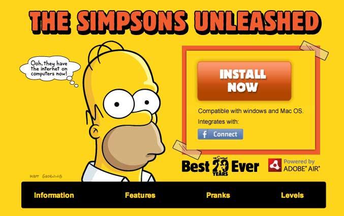 simpsons facebook   Aplicación de Los Simpsons en Facebook