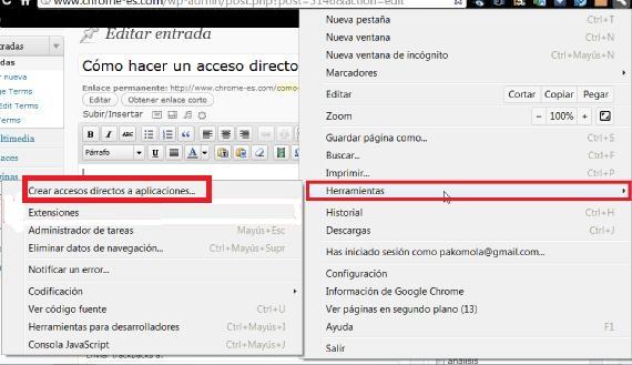 Opciones Google Chrome ajustes/herramientas /acceso directo