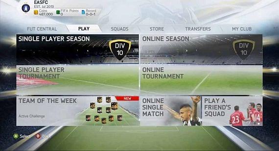 FIFA 14 menu principal