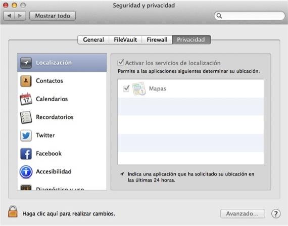 PESTAÑA PRIVACIDAD SEGURIDAD OSX