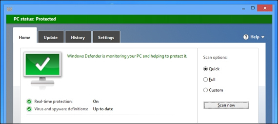 Antivirus incluido en Windows 8