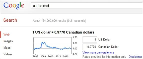 conversion de monedas en Google