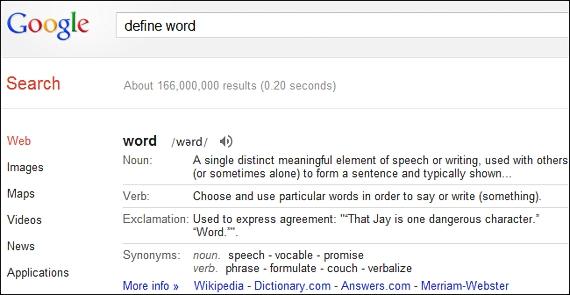 diccionario en Google