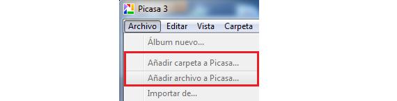 importar imágenes en Picasa