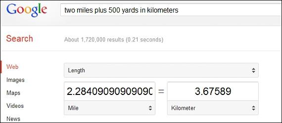 unidades de longitud en Google
