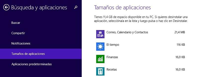05 espacio que ocupas las aplicaciones en Windows 8.1