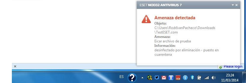 Advertencia de ESET