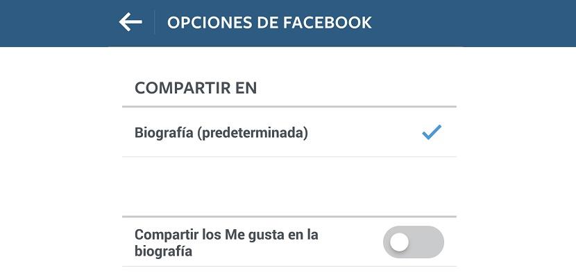 Opciones de Facebook