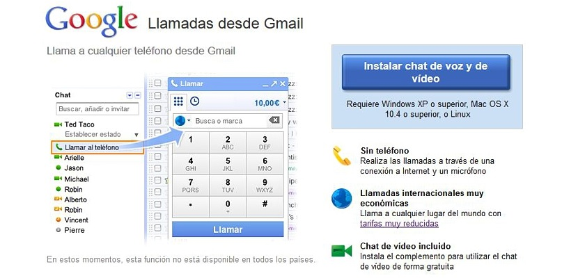 llamadas de voz y video con Gmail