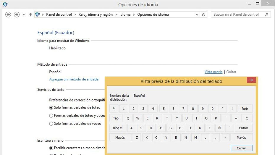 04 configurar el teclado en Windows 8.1
