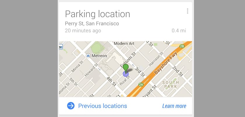 Google Now aparcamiento