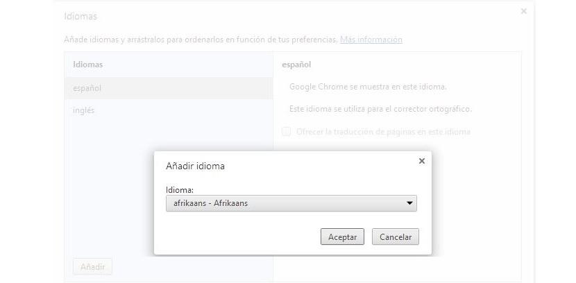 agregar idiomas en Chrome
