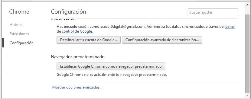 opciones avanzadas en Chrome