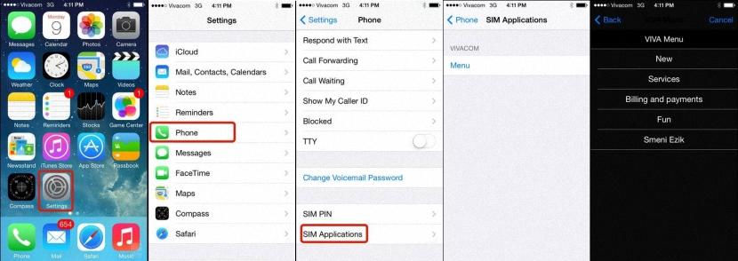 aplicaciones y servicios en SIM de iPhone
