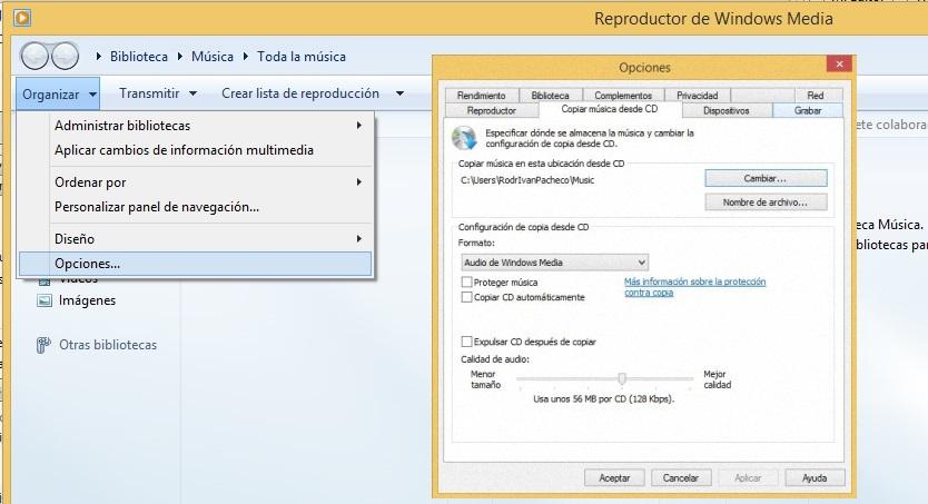 opciones en windows media player