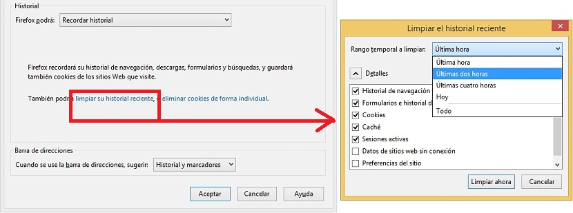 eliminar historial en Firefox 01