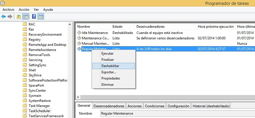 mantenimiento regular en Windows 8.1