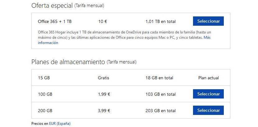 nuevos precios de OneDrive