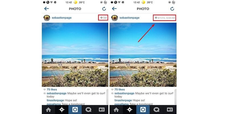 fecha en fotos de Instagram