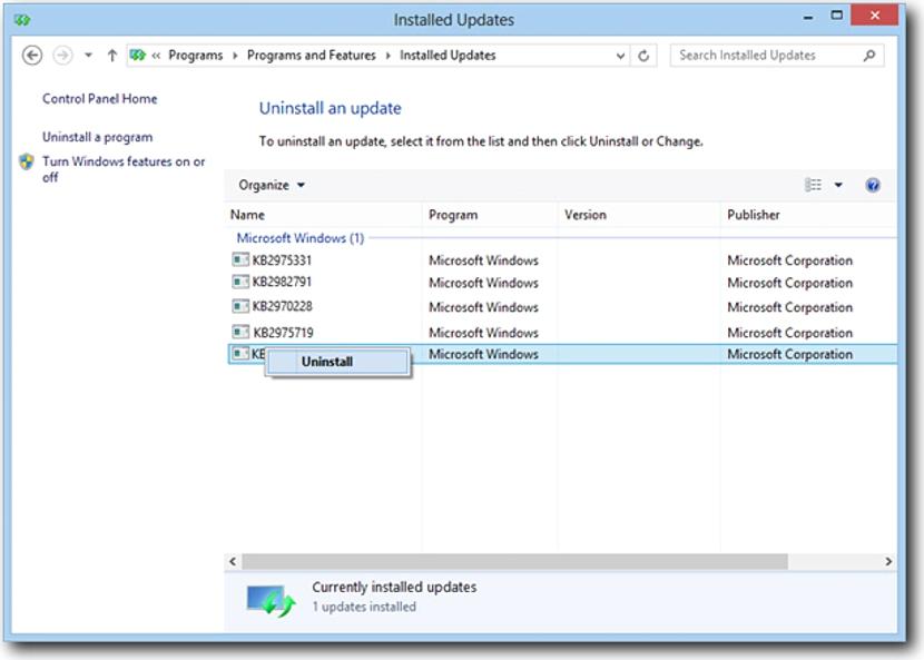 remover actualizaciones de Agosto de Microsoft 03