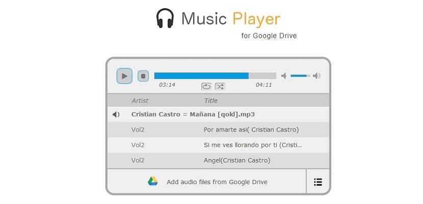 reproducir archivos de audio de Google Drive